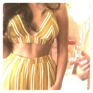 fashion nova two piece yellow stripped set